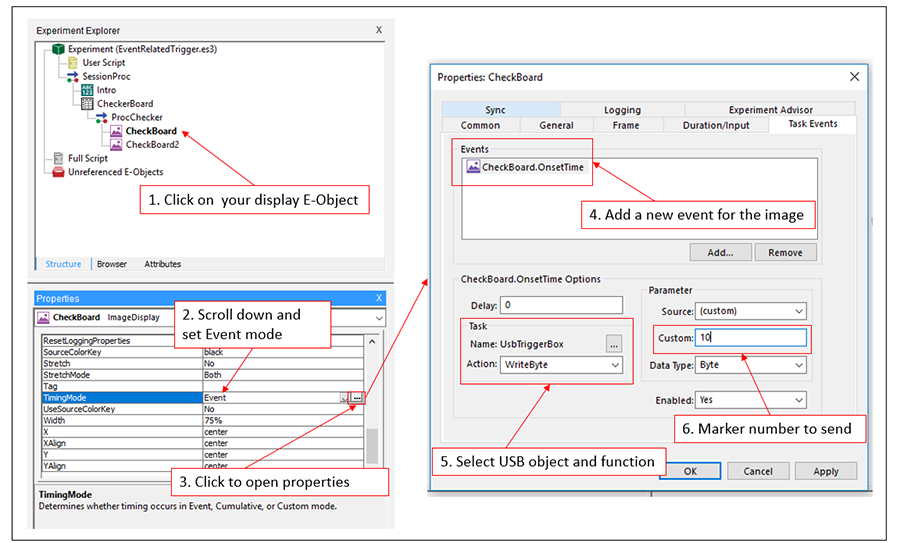 TriggerBox - Figure 4: Steps to assign an output trigger to an object in E-Prime 3.0.