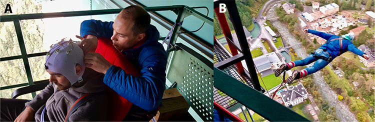 Fig. 2A: Preparation of the active EEG electrode cap (actiCAP, Brain Products GmbH, Gilching, Germany). 2B: One of the bungee jumpers in free fall.